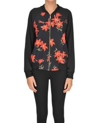 Traffic People - Flower Print Crepè Bomber Jacket - Lyst