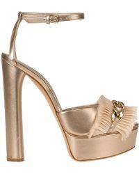 ea1c3b2524 Casadei Leather Platform Sandal in Natural - Lyst