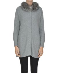 Anneclaire - Fur Collar Cashmere Cardigan - Lyst