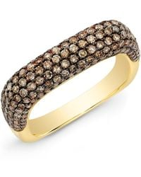 Anne Sisteron 14kt Yellow Gold Champagne Diamond Square Ring