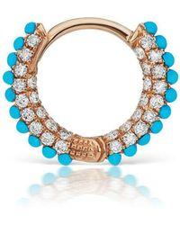 Maria Tash - Medium Turquoise And Diamond Five Row Pave Ring - Lyst