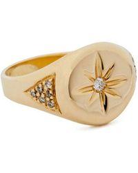 Jacquie Aiche - Gold Center-burst Signet Ring - Lyst