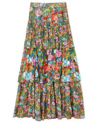 Warm - Band Floral Cotton Skirt - Lyst