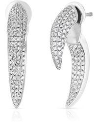 Anne Sisteron 14kt White Gold Diamond Sabre Earrings
