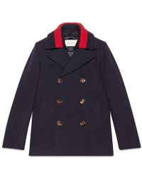 Gucci - Wool Pea Coat With Web - Lyst