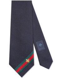 Gucci - Silk Tie With Bee Web - Lyst