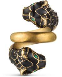 Gucci - Tiger Head Ring With Black Enamel - Lyst