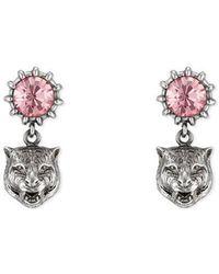 Gucci - Crystal Stud Earrings With Feline Head - Lyst