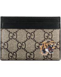 Gucci - Portacarte in tessuto GG Supreme con stampa tigre - Lyst