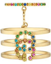 Gucci - GG Running Double Ring With Multicolor Stones - Lyst