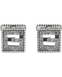 Gucci - Gemelli con G Quadro in argento - Lyst