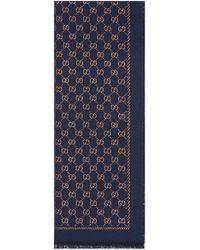 Gucci Schal aus Wolle mit Metallic-GG - Blau