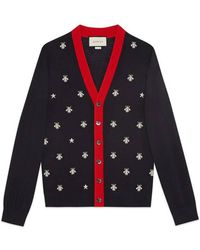 Gucci - Wool Cardigan With Bees And Stars - Lyst