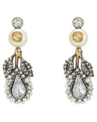 Gucci - Drop Flower Earrings With Crystals - Lyst