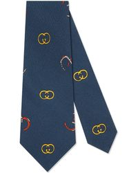 Gucci - Silk Tie With Gg Horseshoe Print - Lyst