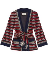 Gucci - Marine Stripe Bouclé Jacket With Belt - Lyst