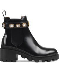 Gucci - 40mm Embellished Leather Boots - Lyst
