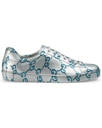 7c2273d5f1e Lyst - Gucci Gg Blooms Coated Canvas Sneakers in Blue for Men