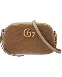 Gucci - Sac à épaule GG Marmont en velours petite taille - Lyst 190d3f6d60f