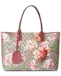 Gucci - Reversible Gg Blooms Leather Tote - Lyst