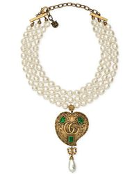 Gucci | Pearl Necklace With Heart Pendant | Lyst