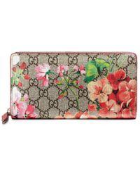 2bea5c8fa8e7 Lyst - Gucci Gg Supreme French Flap Wallet in Black