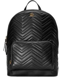 Lyst - Gucci Marmont Chevron Leather Backpack - in Black for Men 3834b090a8977