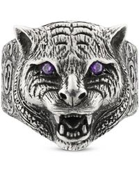 Gucci - Garden Feline Head Ring - Lyst