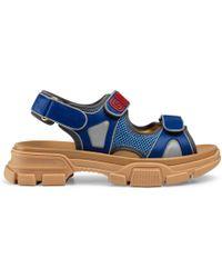 Gucci - Sandale aus Leder und Netzgewebe - Lyst