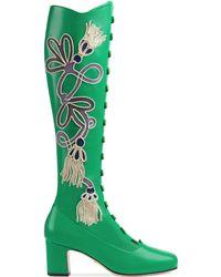 Gucci - Stiefel aus Leder mit Applikation und Absatz - Lyst