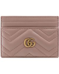 a0e8e8c8f0ff97 Lyst - Gucci GG Marmont Card Holder in Pink