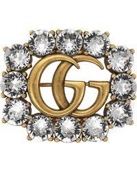 Gucci - Broche Double G en métal avec cristaux - Lyst