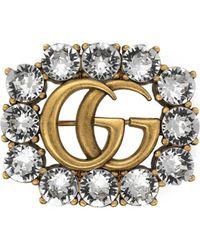 Gucci - Broche de Doble G de Metal con Cristales - Lyst