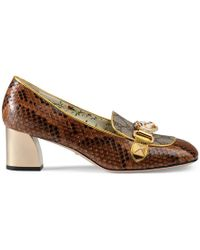 Gucci - Python And Gg Supreme Mid-heel Pump - Lyst