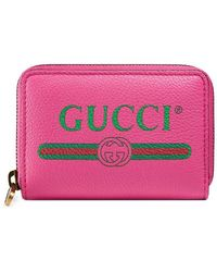 5196663743c4 Lyst - Gucci Swing Leather Card Case in Pink