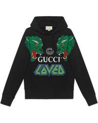 Gucci - Sweat-shirt en coton avec tigres - Lyst
