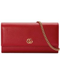 549f0bbb922fe1 Gucci Gg Marmont Leather Chain Wallet in Red - Lyst