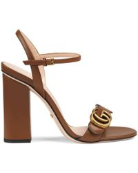 Gucci - Leather Double G Sandal - Lyst