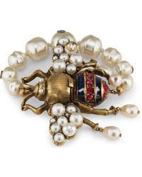 Gucci - Bee Bracelet With Crystals And Pearls - Lyst