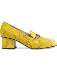 Gucci - Sylvie Embossed Velvet Court Shoes - Lyst