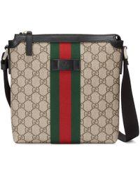 Gucci - Borsa a tracolla piatta in tessuto GG Supreme con dettaglio Web - Lyst