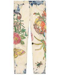 Gucci - Flora Snake Print Denim Tapered Pant - Lyst