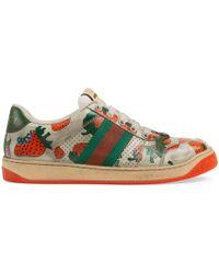 5e343375d7b Gucci - Women s Screener Strawberry Sneaker - Lyst