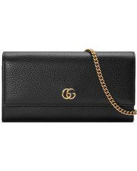 812982f64a451 Gucci - GG Marmont Brieftasche aus Leder mit Kette - Lyst