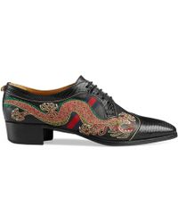 Gucci - Dragon-embroidered Lace-up Shoes - Lyst