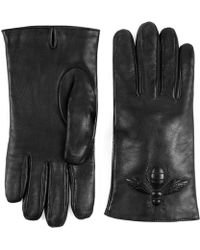 Gucci - Bee Embossed Leather Gloves - Lyst