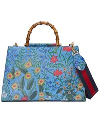 43245647b62 Gucci - Nymphaea New Flora Leather Top Handle Bag - Lyst