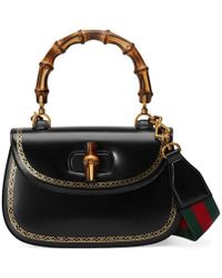 Gucci - Bamboo Frame Print Leather Top Handle Bag - Lyst