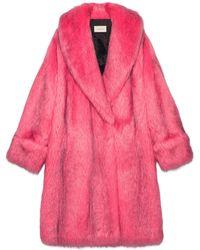 Gucci - Übergroßer Mantel aus Kunstfell - Lyst