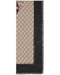 Gucci - Web And Kingsnake Print Wool Scarf - Lyst